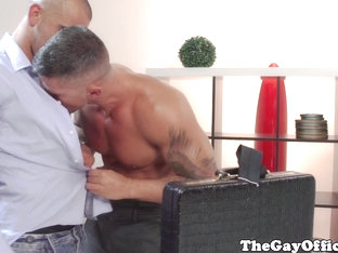 Office boss Damien Crosse plays with ass