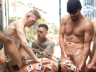 Ripped, muscled stud gang fucked by horny dudes & smothered with feet