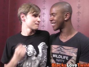 Twink sucks black cock