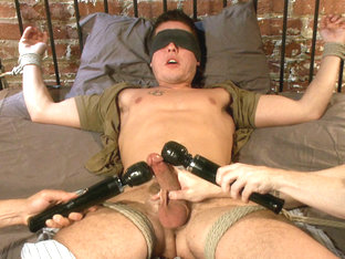 Two edging perverts take down a sexy stud with a fat cock