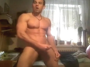 Muscle Guy Flex, Jerk & Cum On Cam