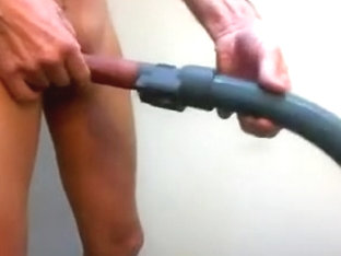 Pantyhosed and vacuum masturbation