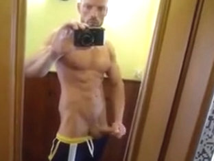 Hung Hunk Showing off and Cumming on Mirror.