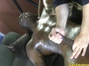 Masseur makes straight guy cum