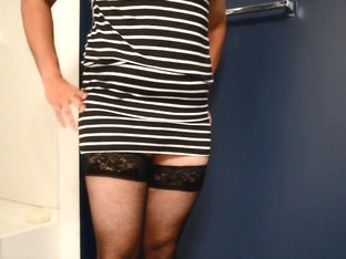 small cock in satin panty and striped club dress