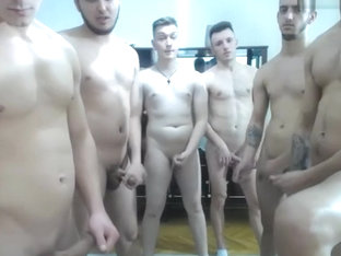6 Romanian uncut guys wank in front of camera on Chaturbate