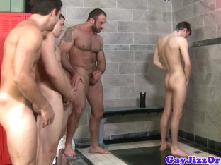 Bear in shower group cumming over twink