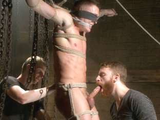 Party boy wakes up to find himself in a crucified edging