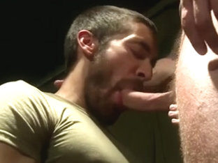 Lustful stud takes into his sexy mouth a veiny hammer