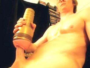 LARGE EJACULATION FROM FLESHLIGHT PUMP