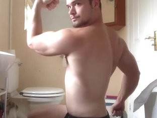 Muscle guy flexing   jerks off