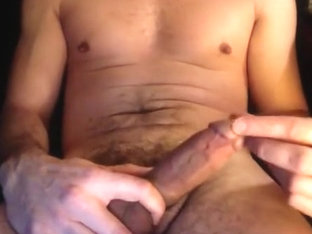 HOT DILF Musclehunk playing with his hard cock closeup