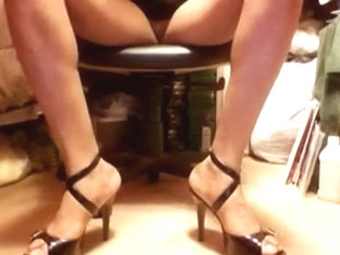 Sexy shiny strap black high heel stilettos and upskirts