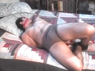 Matt hogtied and cleave gagged in his underwaer in bed struggling & moaning