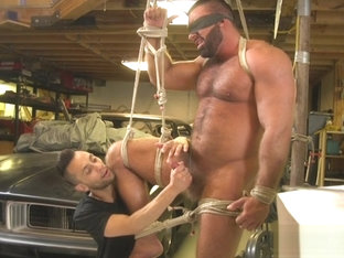 Hunky hairy muscular bear dominated