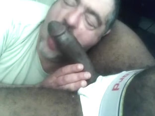 Big black cock deep throated by hungry sucker
