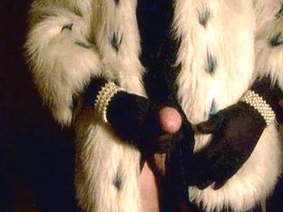 Cumshot in fur coat