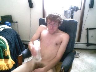 Hot boy jerks off with a flesh light