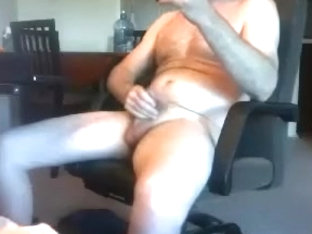 Lovely fag is jerking in the guest room and filming himself on camera