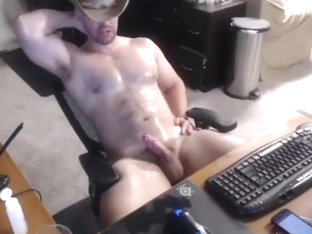 Sexy beefy cowboy double cum cam video jerk off   cum