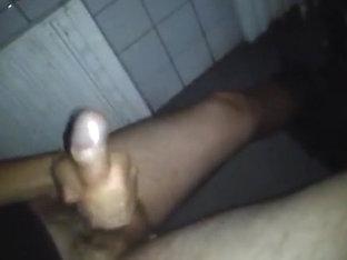 Youthful guy jerking at university