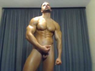 Hot Fighter Raul Strip Flex Naked Hard Cock - Contest shape