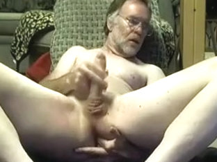 College professor man fingers his ass on cam