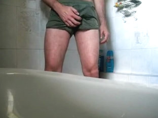 Make Water in cum stained USMC PT shorts