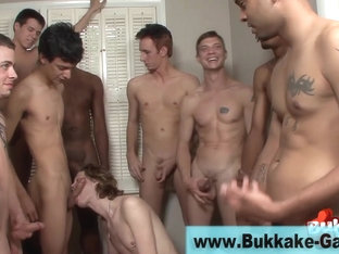 Cock sucking group hunk facialized