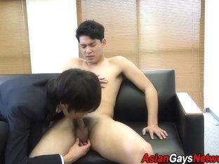 Asian twink gets cumshot