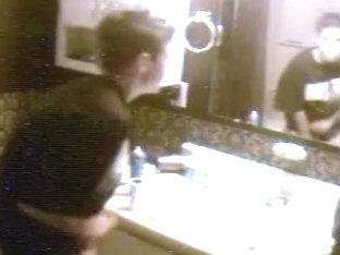 Spycam Little Bathroom Handjob