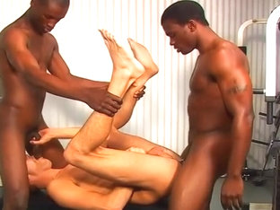 White Gym Boy Speared By Two Black Dicks