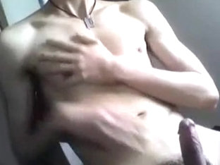 Gay boy covers his body with cum