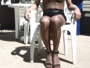 Cock Flash Outdoor in Skirt and Full Body Pantyhose