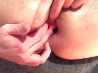 Hard solo anal play with beads and balls - huge gape