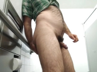 Fisted at work: guy fists, fucks his ass in public restroom, cums handsfree