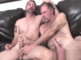 Two dads fucking on the couch fucked