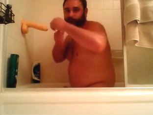 Bearcubwoof shower jerk-off with a dildo