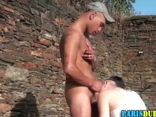 French dude tugs and cums outdoors