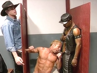 Gay Gloryhole Action with Leather Fetish