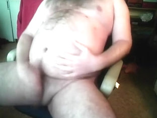 Jacking off my fat bear cub cock, cum on chubby round belly