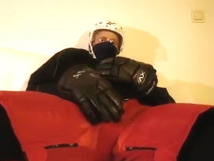 Cum in full hockey gear