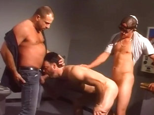Horny trucker in gay orgy
