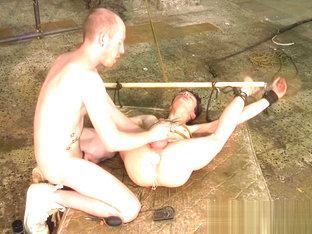 Bound twink slave Alex Faux receives anal toys and blowjob