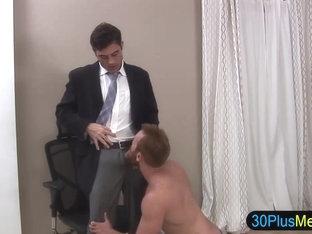 Hot gay hunk gets cock sucked