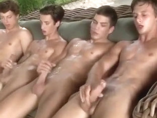 Four friends wank together