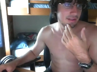 Alluring boy is jerking in the guest room and filming himself on webcam