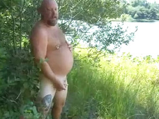 3 mile pond: Naked Bear in the Woods