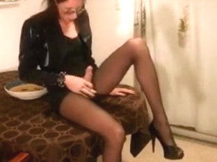 Leggy TS Teases Strokes Cums in Her Mouth