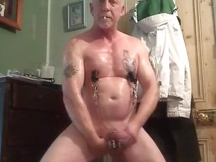 Hung pierced muscle takes heavy sex toy